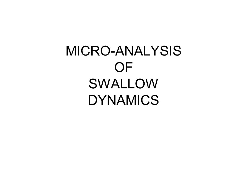 MICRO-ANALYSIS OF SWALLOW DYNAMICS