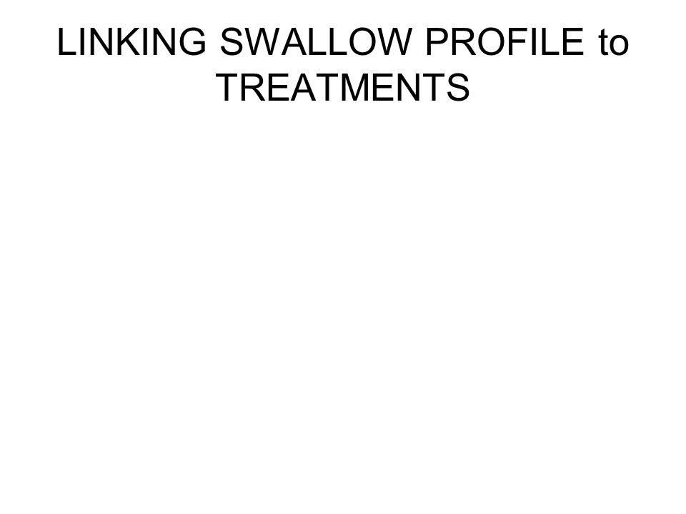 LINKING SWALLOW PROFILE to TREATMENTS