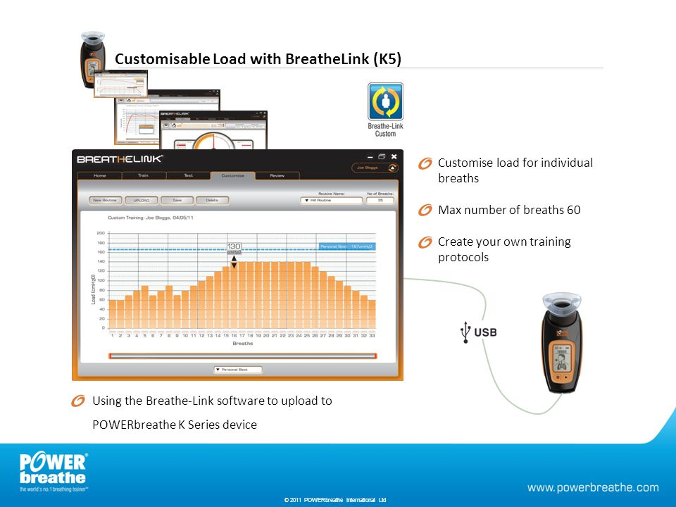 Customisable Load with BreatheLink (K5) © 2010 HaB International Ltd Customise load for individual breaths Max number of breaths 60 Create your own training protocols Using the Breathe-Link software to upload to POWERbreathe K Series device © 2011 POWERbreathe International Ltd