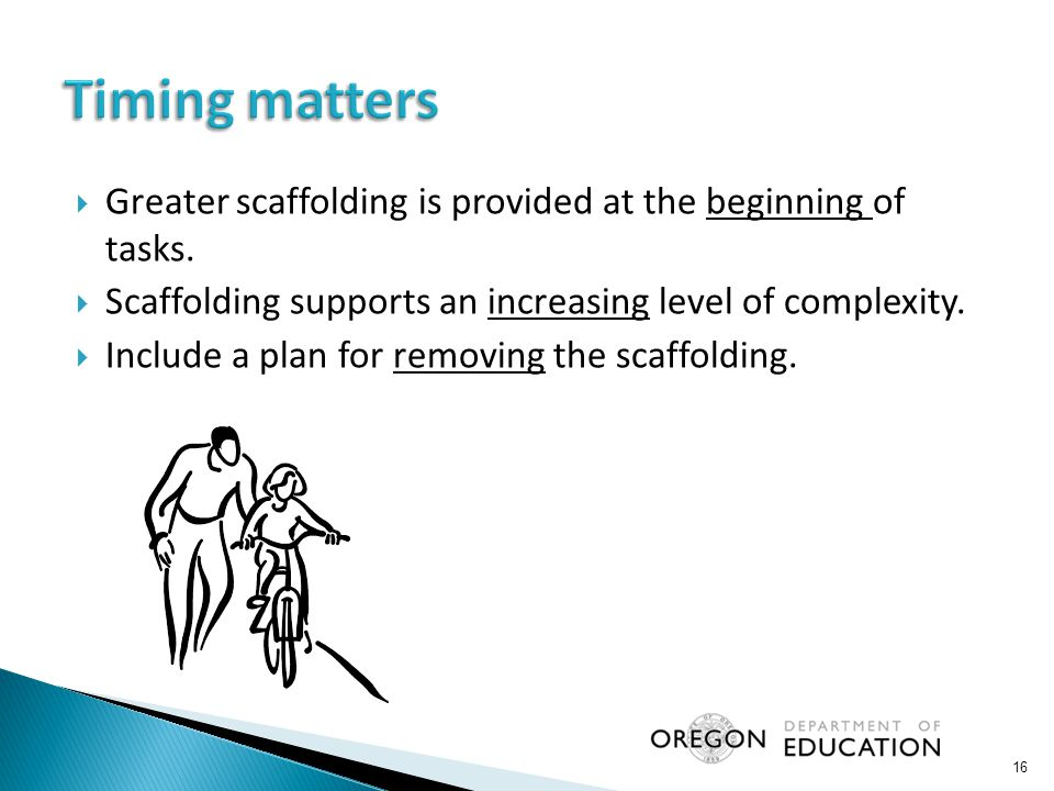  Greater scaffolding is provided at the beginning of tasks.  Scaffolding supports an increasing level of complexity.  Include a plan for removing t