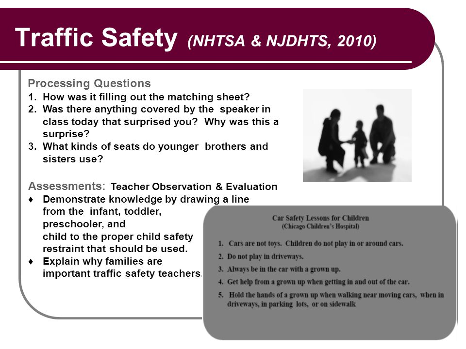 Traffic Safety (NHTSA & NJDHTS, 2010) Processing Questions 1.How was it filling out the matching sheet? 2.Was there anything covered by the speaker in