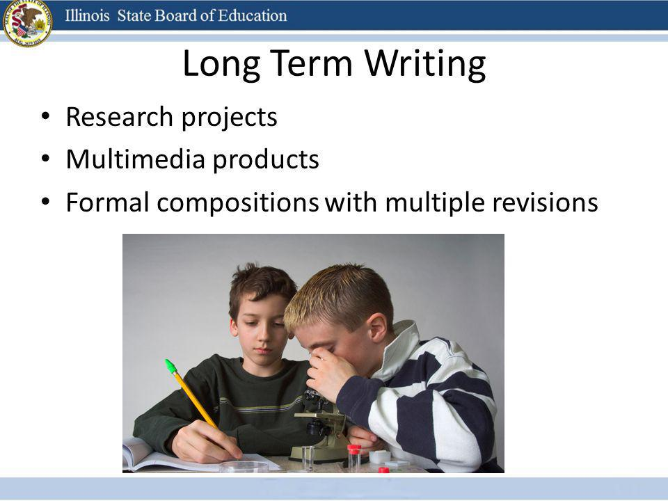 Long Term Writing Research projects Multimedia products Formal compositions with multiple revisions