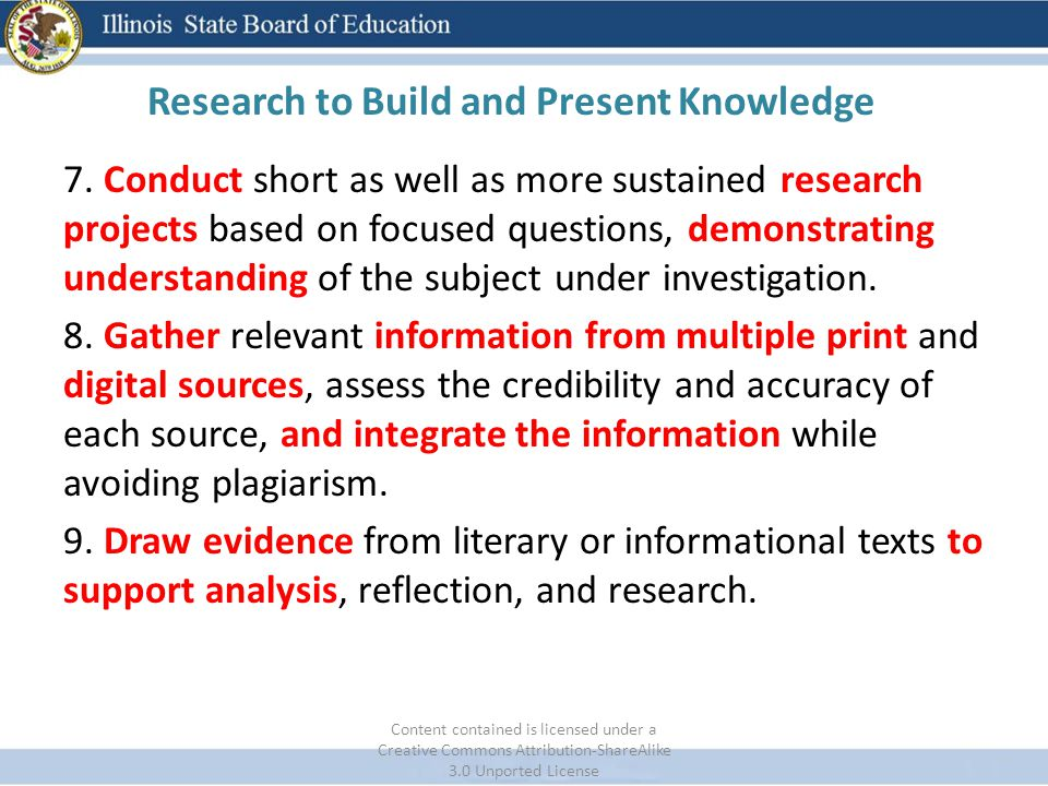 Research to Build and Present Knowledge 7. Conduct short as well as more sustained research projects based on focused questions, demonstrating underst