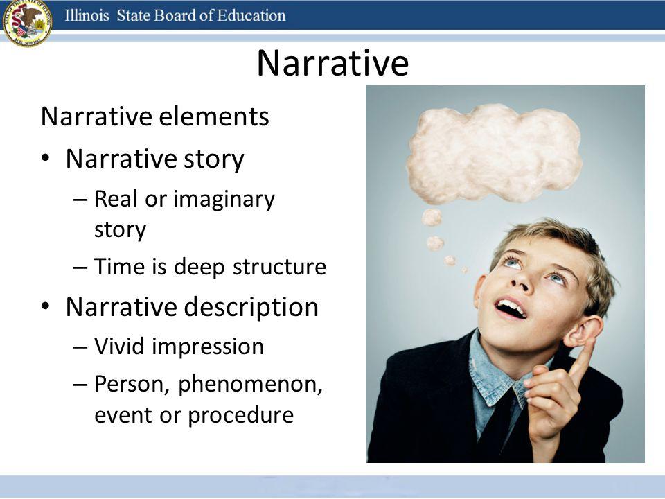 Narrative Narrative elements Narrative story – Real or imaginary story – Time is deep structure Narrative description – Vivid impression – Person, phe