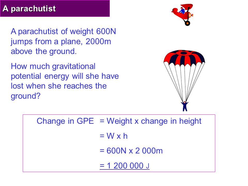 a) Work done = F x d = 10,000 N x..… = …………..… J b) Work done = GPE !.