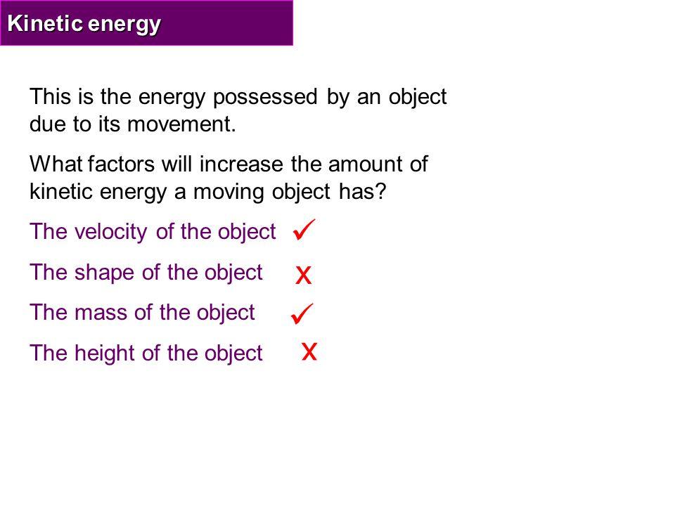 c) GPE becomes KE: GPE = KE = ½ mv 2 50,000 = ½ x 1000 x V 2 50,000 = 500 x V 2 100 = V 2 so V = 10 m/s b) Work done = GPE !.