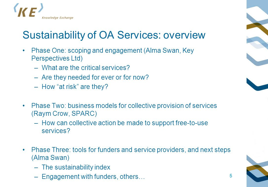 Sustainability of OA Services: overview Phase One: scoping and engagement (Alma Swan, Key Perspectives Ltd) –What are the critical services? –Are they