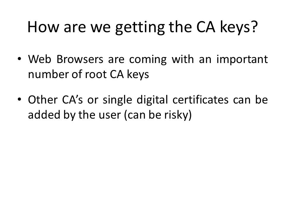 How are we getting the CA keys.