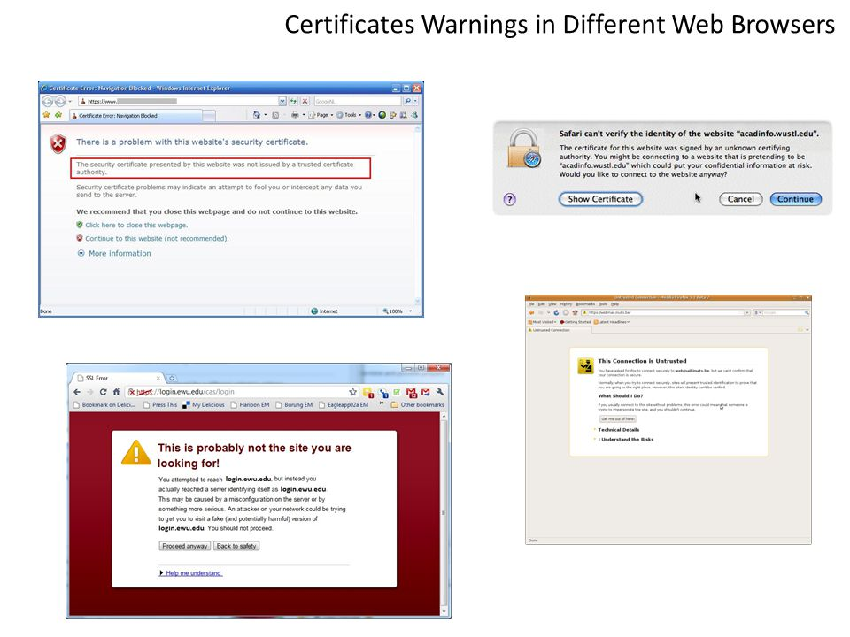 Certificates Warnings in Different Web Browsers