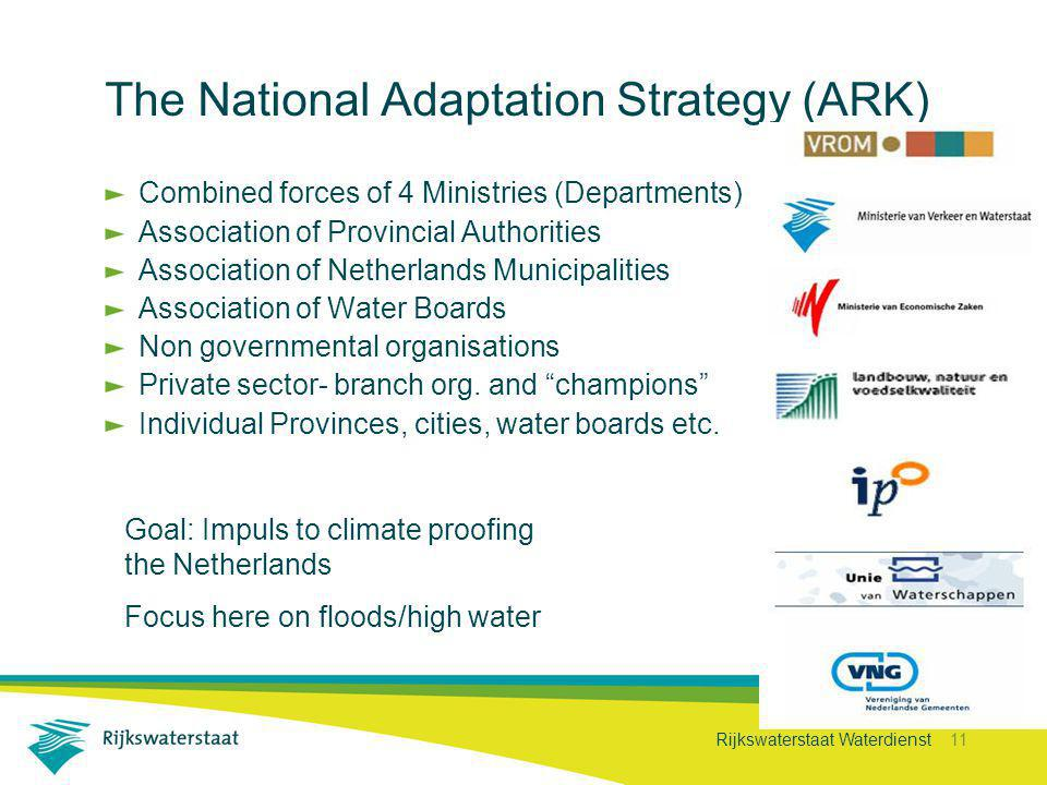 Rijkswaterstaat Waterdienst 11 The National Adaptation Strategy (ARK) Combined forces of 4 Ministries (Departments) Association of Provincial Authorities Association of Netherlands Municipalities Association of Water Boards Non governmental organisations Private sector- branch org.