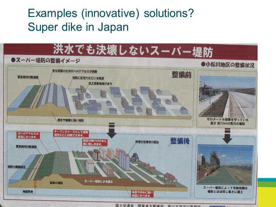 Rijkswaterstaat Waterdienst 22 Examples (innovative) solutions? Super dike in Japan