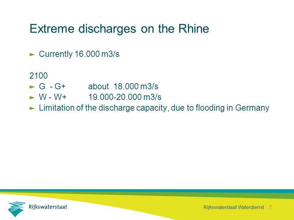 Rijkswaterstaat Waterdienst 7 Extreme discharges on the Rhine Currently 16.000 m3/s 2100 G - G+about 18.000 m3/s W - W+19.000-20.000 m3/s Limitation o