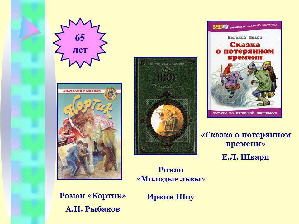 65 лет «Сказка о потерянном времени» Е.Л. Шварц Роман «Кортик» А.Н.