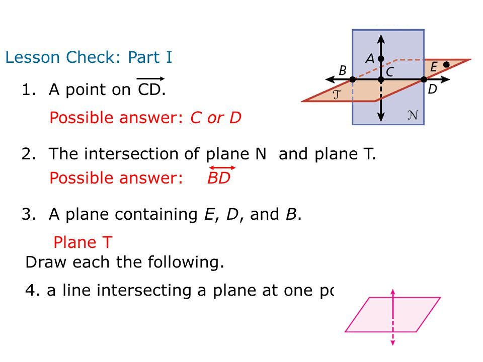 Lesson Check: Part I 2. The intersection of plane N and plane T.