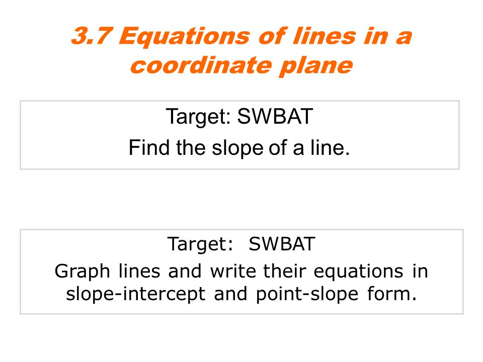 Target: SWBAT Find the slope of a line. 3.7 Equations of lines in a coordinate plane Target: SWBAT Graph lines and write their equations in slope-inte