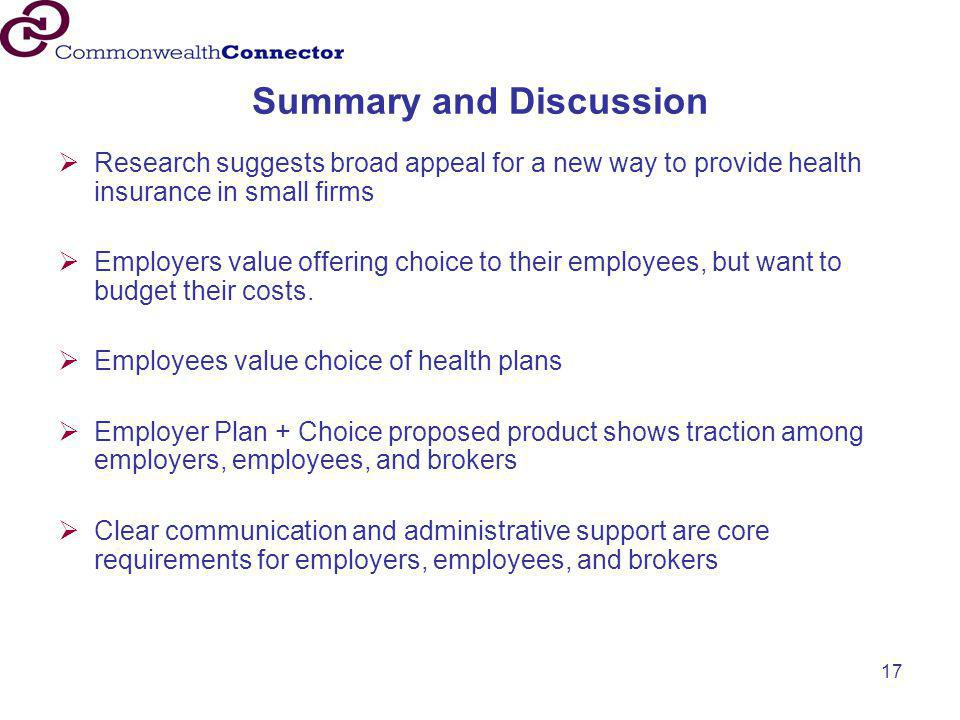 17 Summary and Discussion  Research suggests broad appeal for a new way to provide health insurance in small firms  Employers value offering choice
