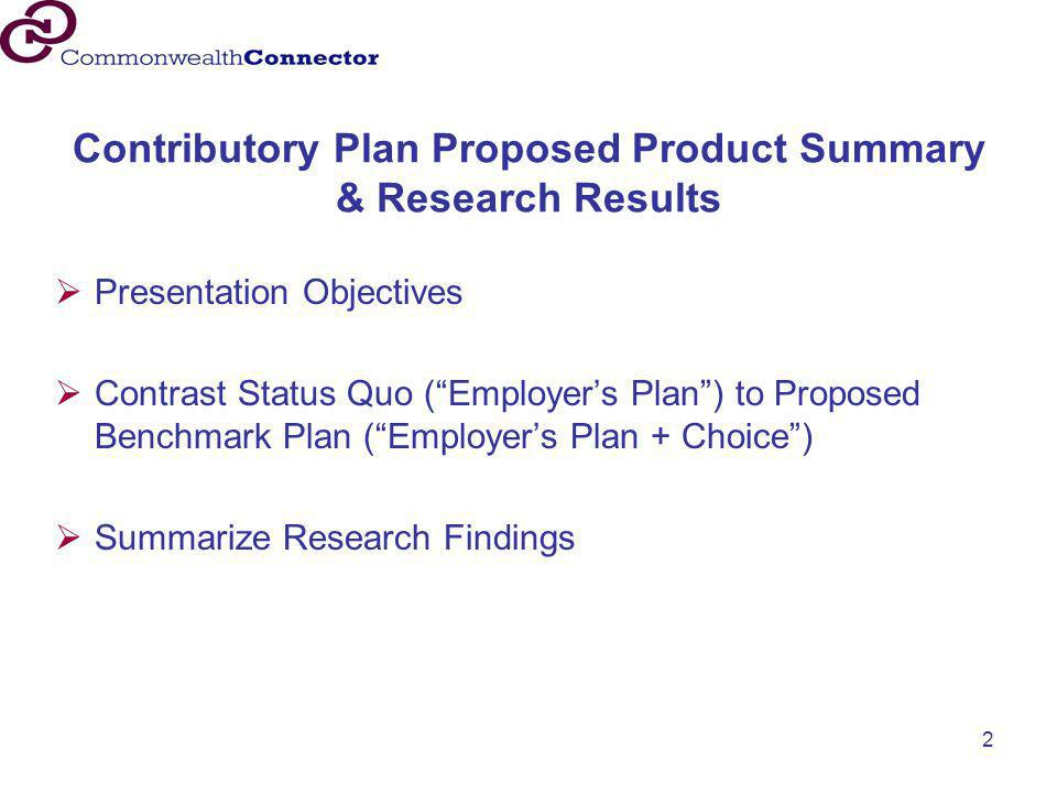 "2 Contributory Plan Proposed Product Summary & Research Results  Presentation Objectives  Contrast Status Quo (""Employer's Plan"") to Proposed Benchm"
