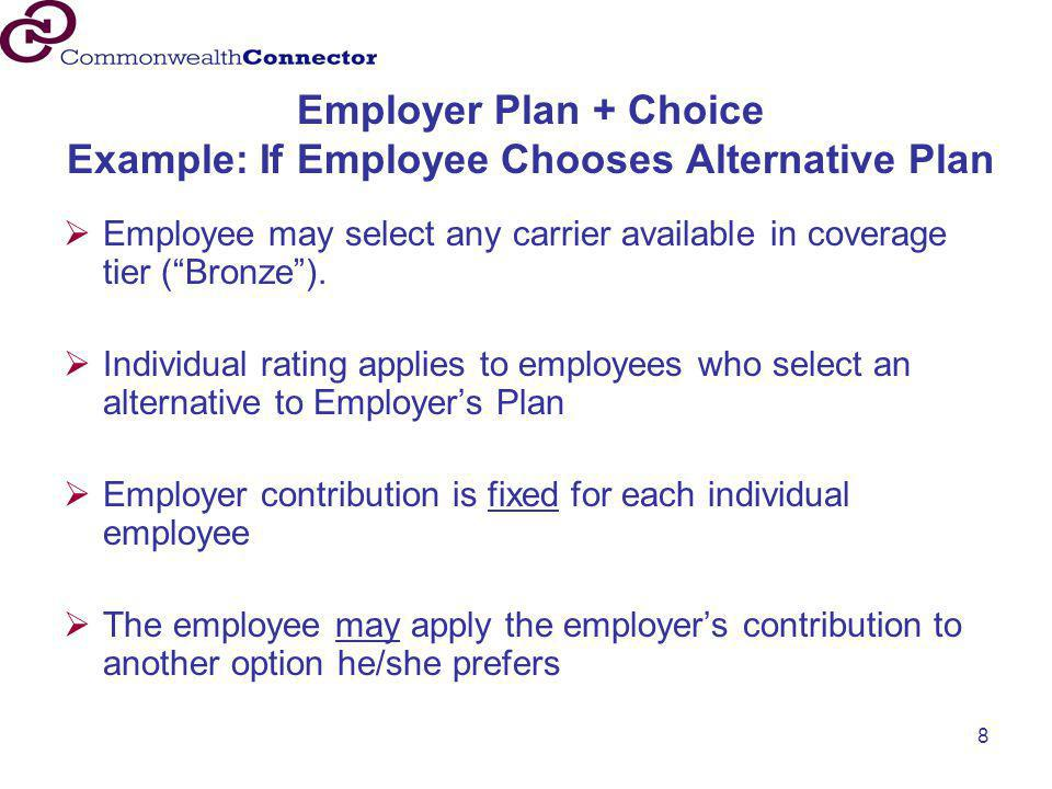 "8 Employer Plan + Choice Example: If Employee Chooses Alternative Plan  Employee may select any carrier available in coverage tier (""Bronze"").  Indi"