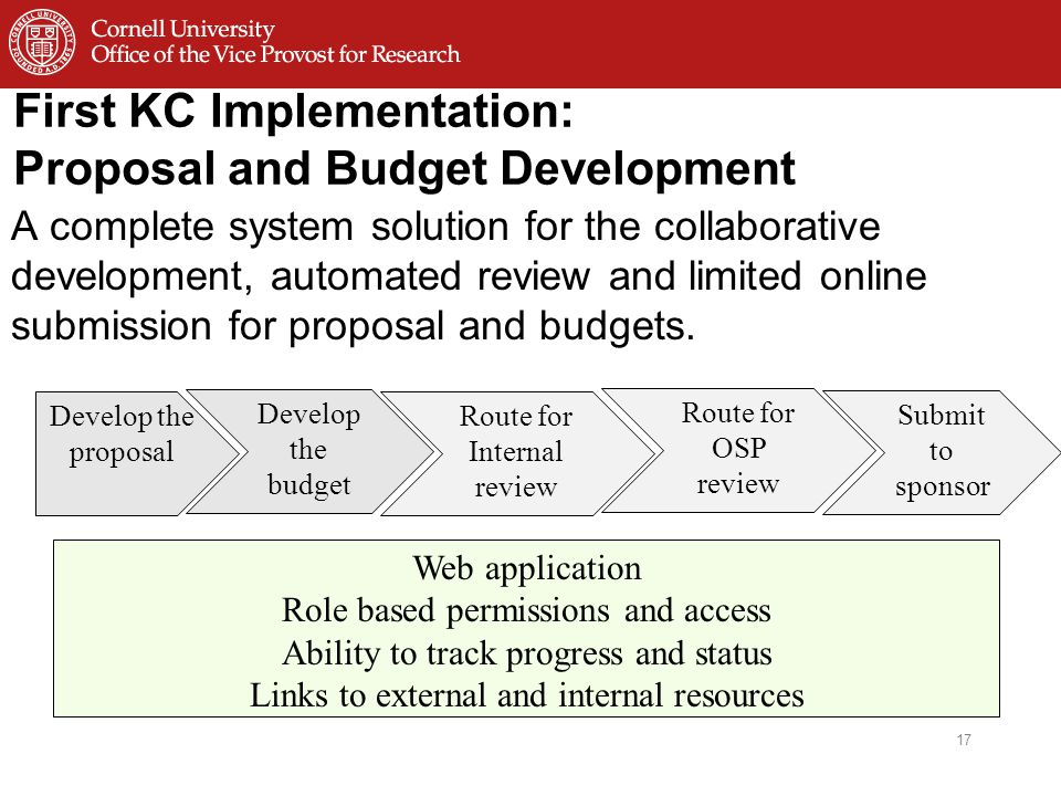 First KC Implementation: Proposal and Budget Development A complete system solution for the collaborative development, automated review and limited online submission for proposal and budgets.