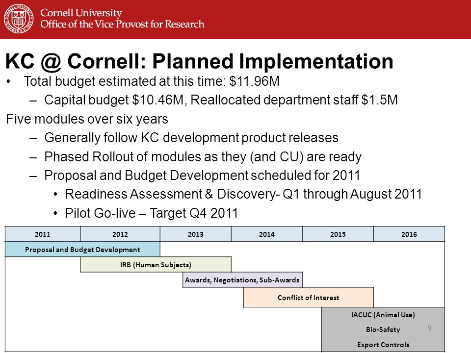 Cornell: Planned Implementation Total budget estimated at this time: $11.96M –Capital budget $10.46M, Reallocated department staff $1.5M Five modules over six years –Generally follow KC development product releases –Phased Rollout of modules as they (and CU) are ready –Proposal and Budget Development scheduled for 2011 Readiness Assessment & Discovery- Q1 through August 2011 Pilot Go-live – Target Q Proposal and Budget Development IRB (Human Subjects) Awards, Negotiations, Sub-Awards Conflict of Interest IACUC (Animal Use) Bio-Safety Export Controls 9
