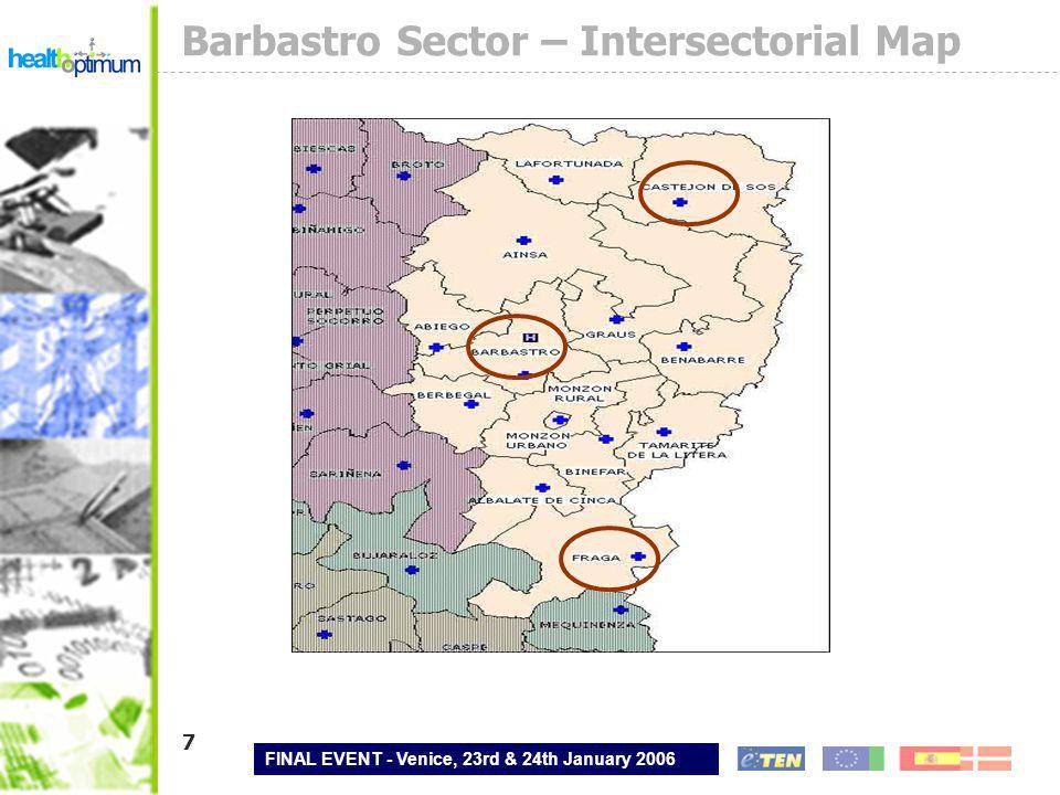 FINAL EVENT - Venice, 23rd & 24th January 2006 28 Contact Spanish pilot information Gobierno de Aragón Health Department www.aragon.es Aragonesa de Servicios Telemáticos E-mail: ncampillo@aragon.esncampillo@aragon.es Barbastro Hospital E-mail: inform.hbrb@salud.aragon.esinform.hbrb@salud.aragon.es TB-Solutions www.tb-solutions.com E-mail: hurtadom@tb-solutions.com