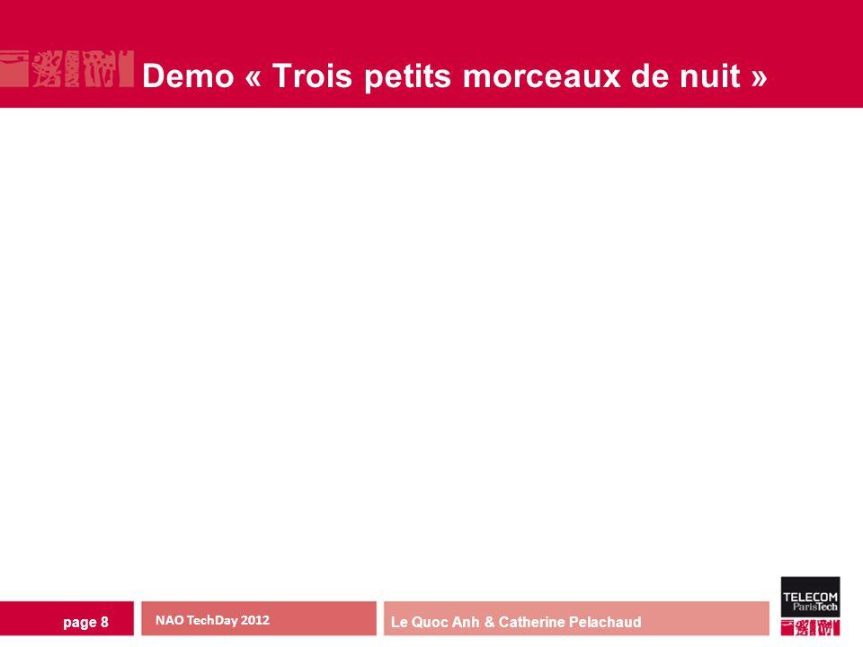 Le Quoc Anh & Catherine Pelachaud Demo « Trois petits morceaux de nuit » page 8 NAO TechDay 2012