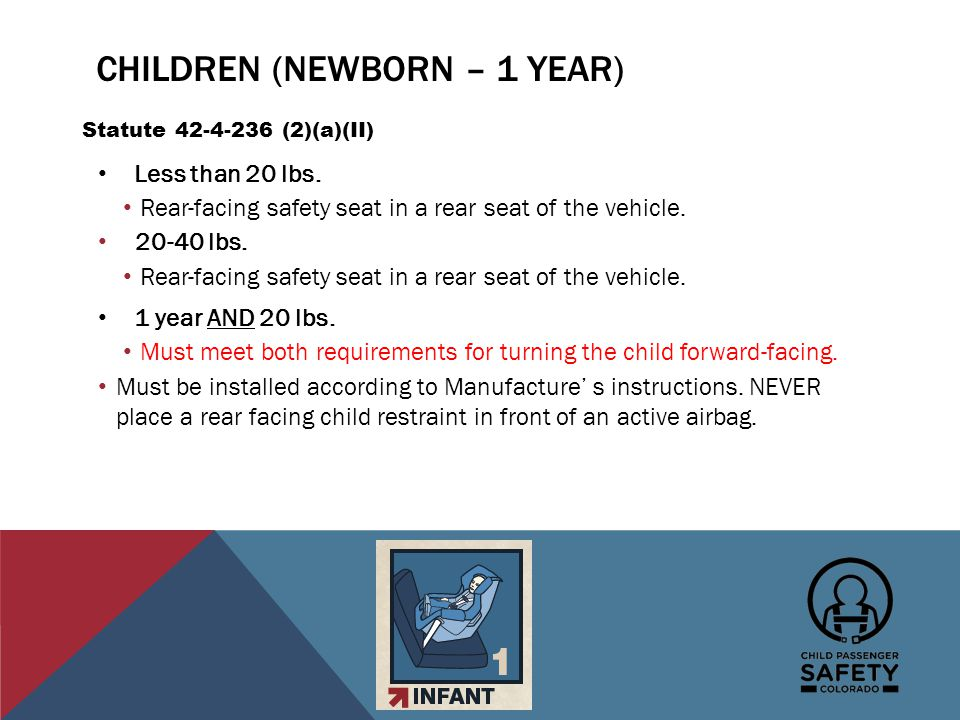 CHILDREN (NEWBORN – 1 YEAR) Less than 20 lbs. Rear-facing safety seat in a rear seat of the vehicle. 20-40 lbs. Rear-facing safety seat in a rear seat