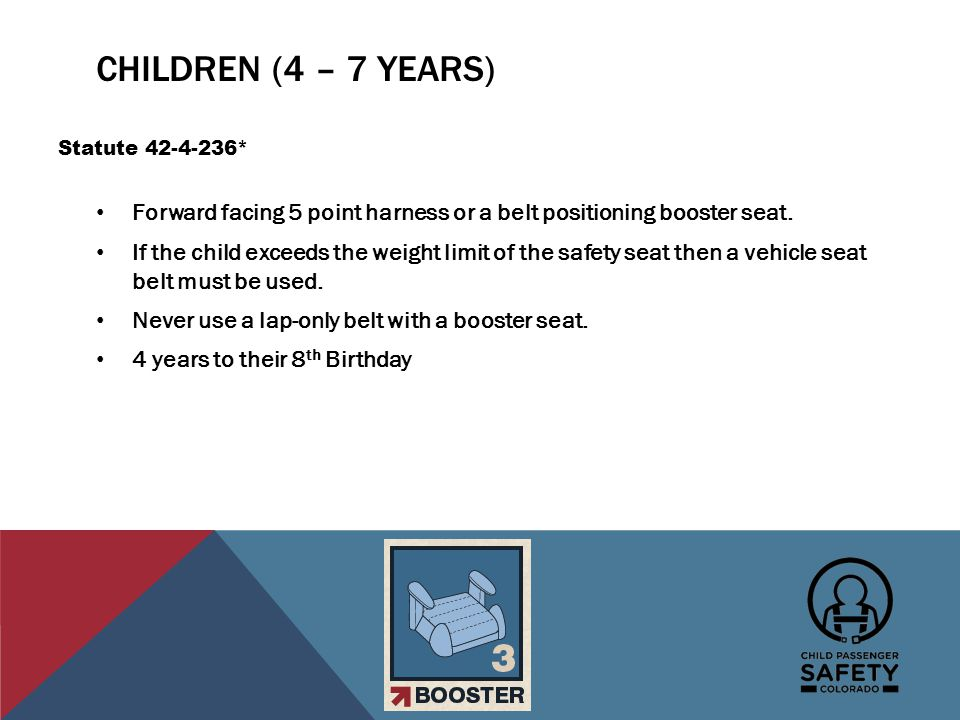 CHILDREN (8 – 16 YEARS) Booster seat or vehicle seat belt.