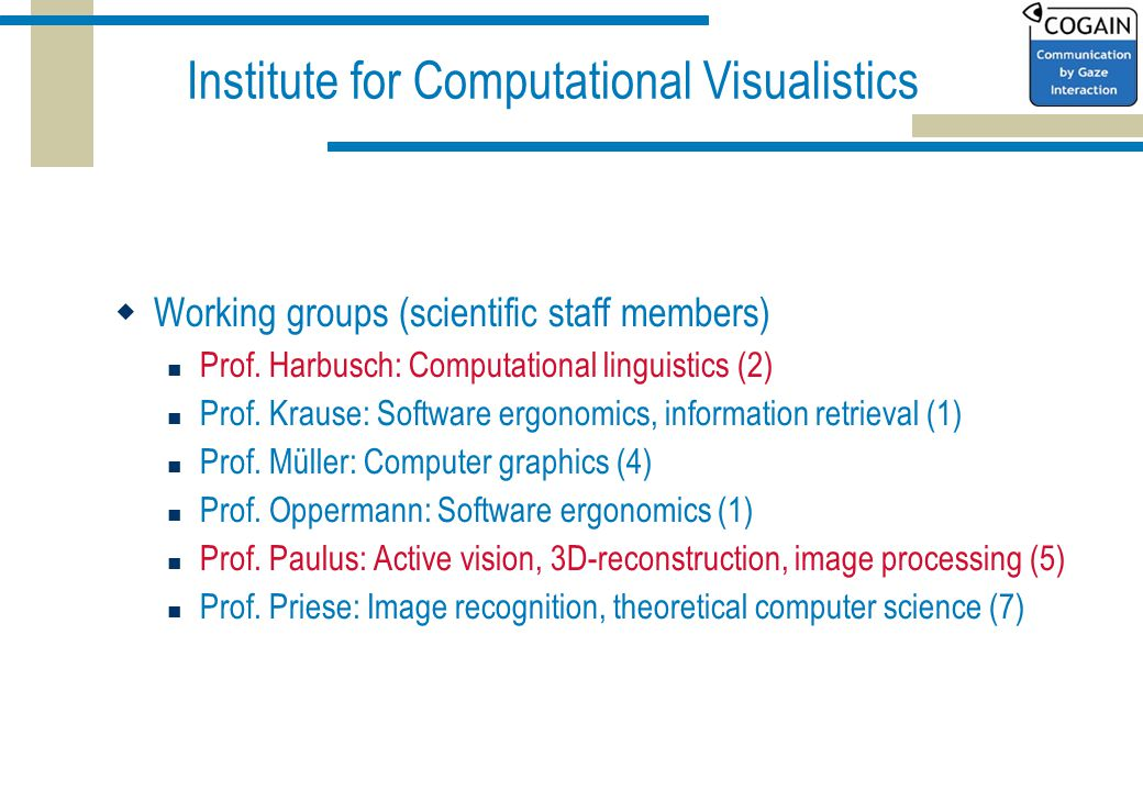 Institute for Computational Visualistics  Working groups (scientific staff members) Prof.