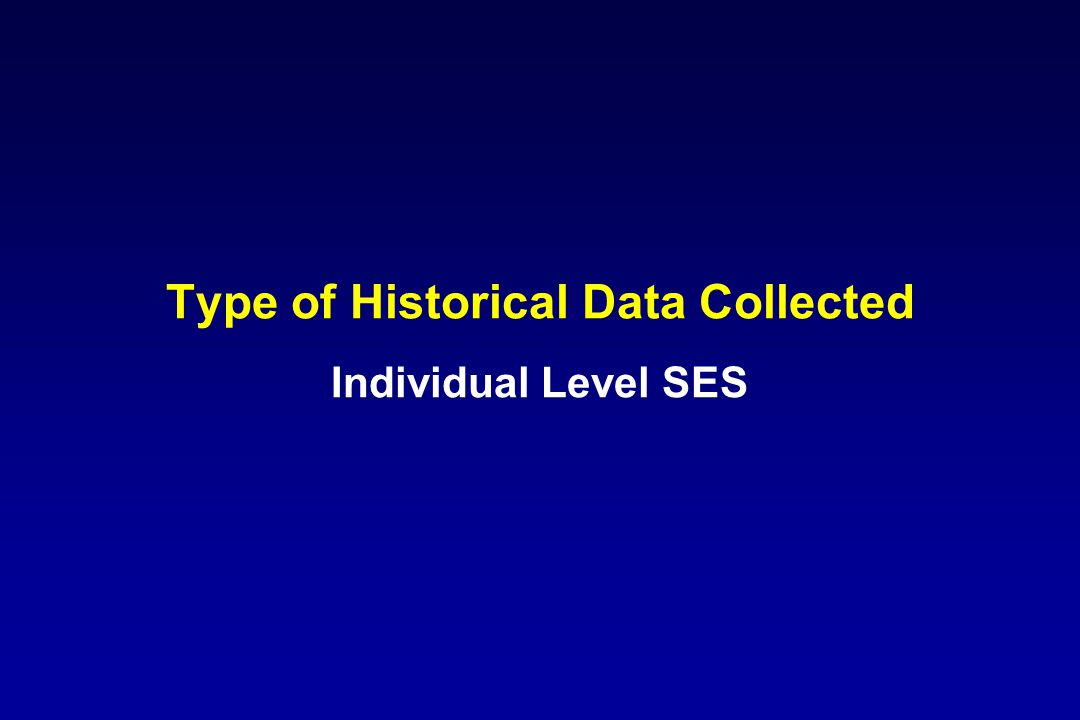 Type of Historical Data Collected Individual Level SES
