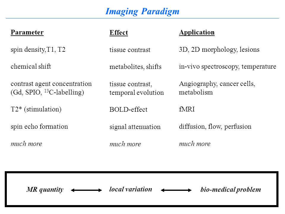 Imaging Paradigm Parameter spin density,T1, T2 chemical shift contrast agent concentration (Gd, SPIO, 13 C-labelling) T2* (stimulation) spin echo formation much more Effect tissue contrast metabolites, shifts tissue contrast, temporal evolution BOLD-effect signal attenuation much more Application 3D, 2D morphology, lesions in-vivo spectroscopy, temperature Angiography, cancer cells, metabolism fMRI diffusion, flow, perfusion much more local variation bio-medical problemMR quantity