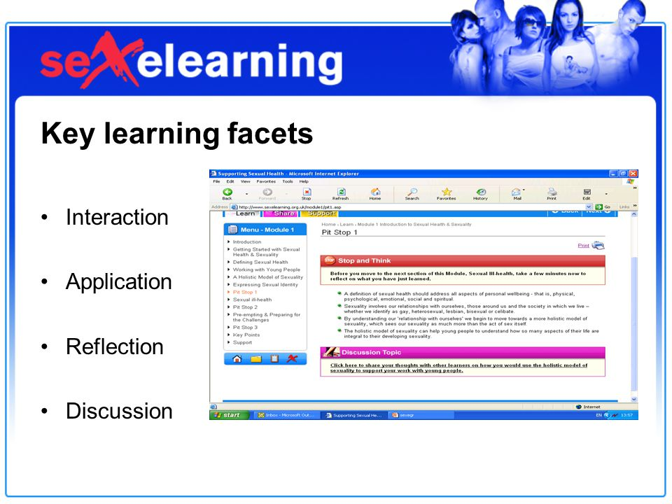 Key learning facets Interaction Application Reflection Discussion