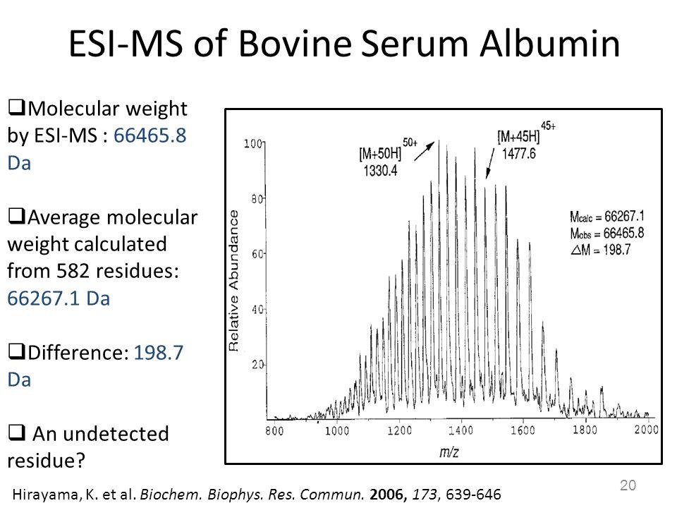 ESI-MS of Bovine Serum Albumin 20  Molecular weight by ESI-MS : 66465.8 Da  Average molecular weight calculated from 582 residues: 66267.1 Da  Diff