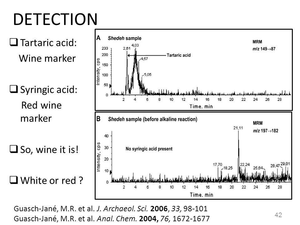 DETECTION  Tartaric acid: Wine marker  Syringic acid: Red wine marker  So, wine it is!  White or red ? 42 Guasch-Jané, M.R. et al. J. Archaeol. Sc