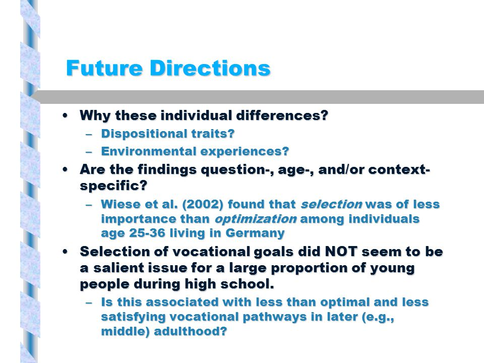 Future Directions Why these individual differences?Why these individual differences.