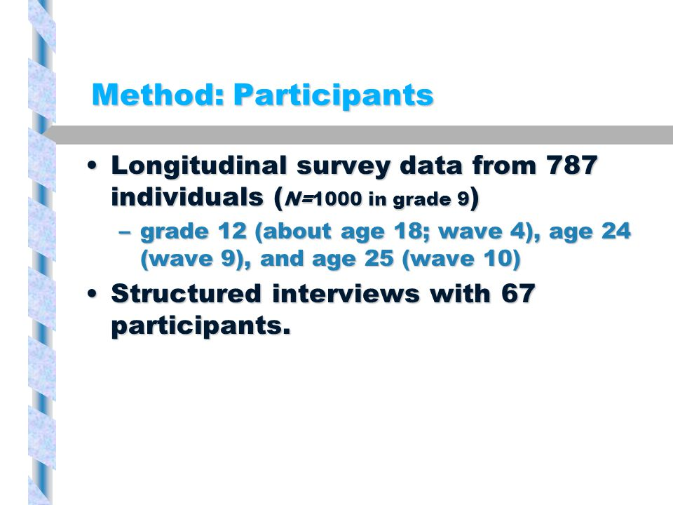 Method: Participants Longitudinal survey data from 787 individuals ( N=1000 in grade 9 )Longitudinal survey data from 787 individuals ( N=1000 in grade 9 ) –grade 12 (about age 18; wave 4), age 24 (wave 9), and age 25 (wave 10) Structured interviews with 67 participants.Structured interviews with 67 participants.