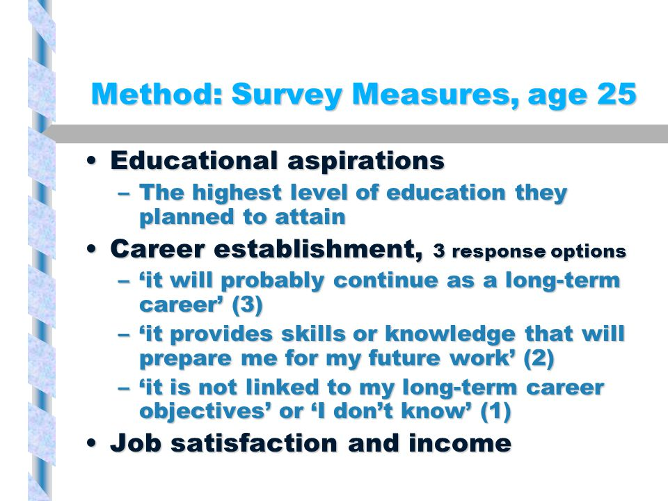 Method: Survey Measures, age 25 Educational aspirationsEducational aspirations –The highest level of education they planned to attain Career establishment, 3 response optionsCareer establishment, 3 response options –'it will probably continue as a long-term career' (3) –'it provides skills or knowledge that will prepare me for my future work' (2) –'it is not linked to my long-term career objectives' or 'I don't know' (1) Job satisfaction and incomeJob satisfaction and income