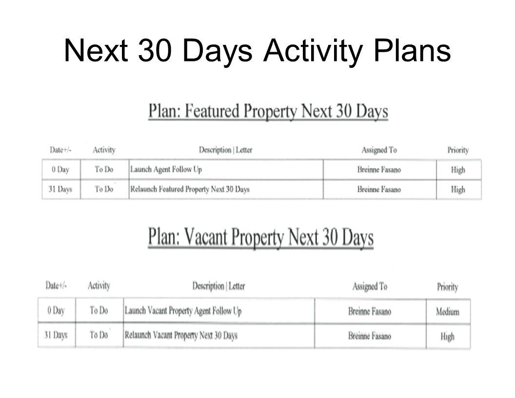 Next 30 Days Activity Plans