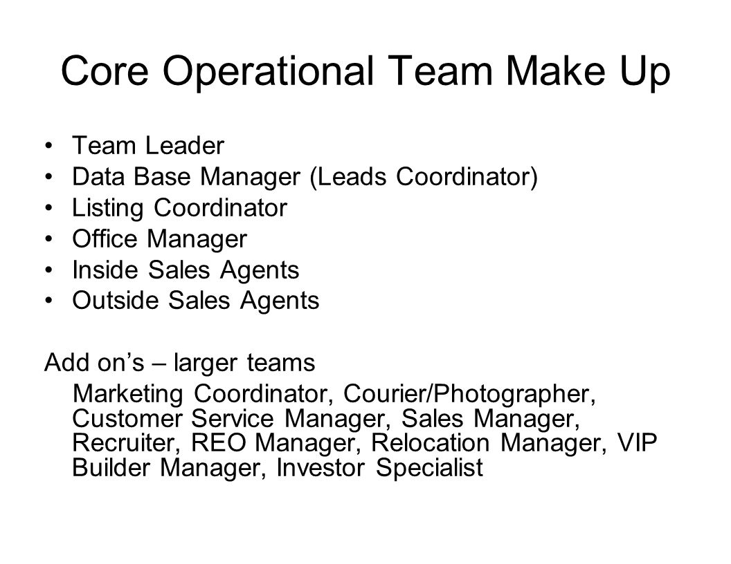 Core Operational Team Make Up Team Leader Data Base Manager (Leads Coordinator) Listing Coordinator Office Manager Inside Sales Agents Outside Sales A