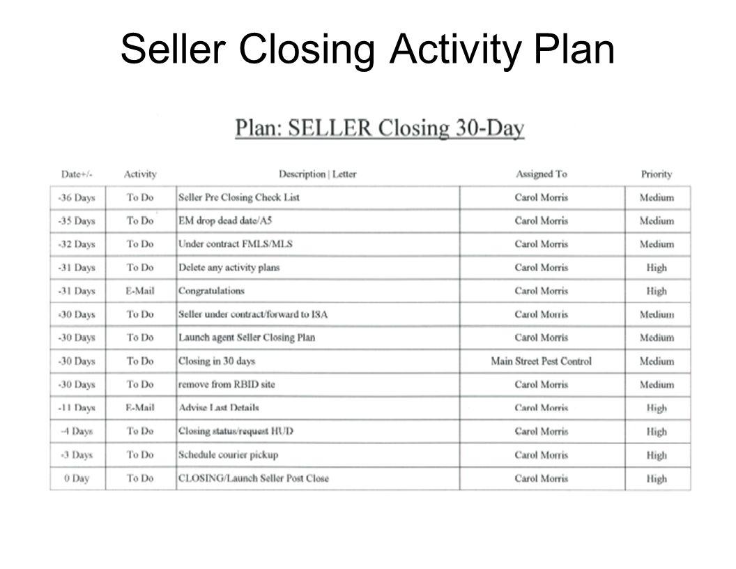 Seller Closing Activity Plan