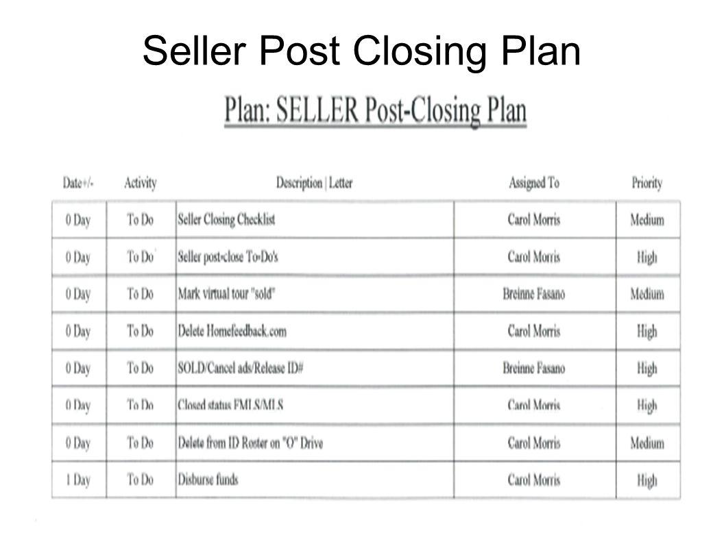 Seller Post Closing Plan