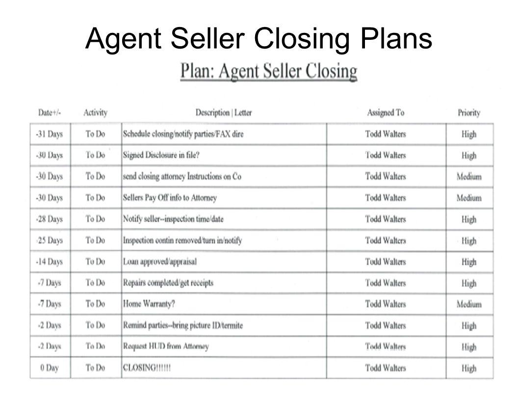 Agent Seller Closing Plans