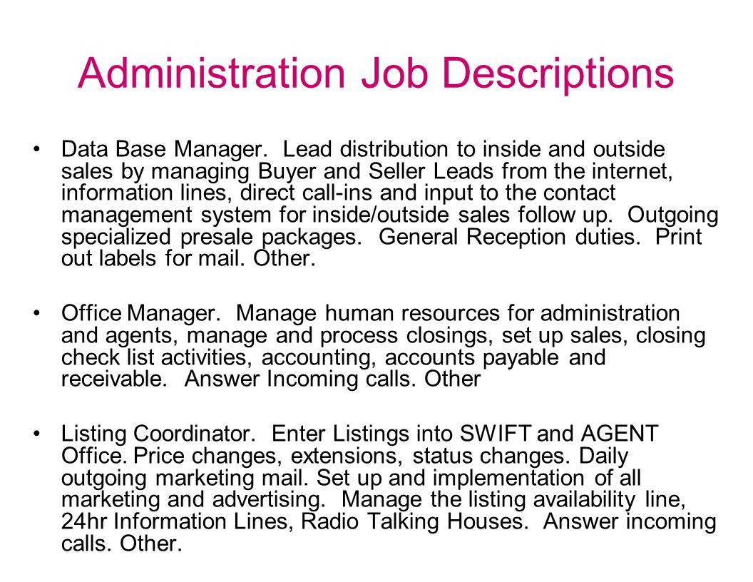 Administration Job Descriptions Data Base Manager.