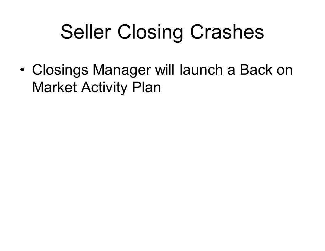 Seller Closing Crashes Closings Manager will launch a Back on Market Activity Plan
