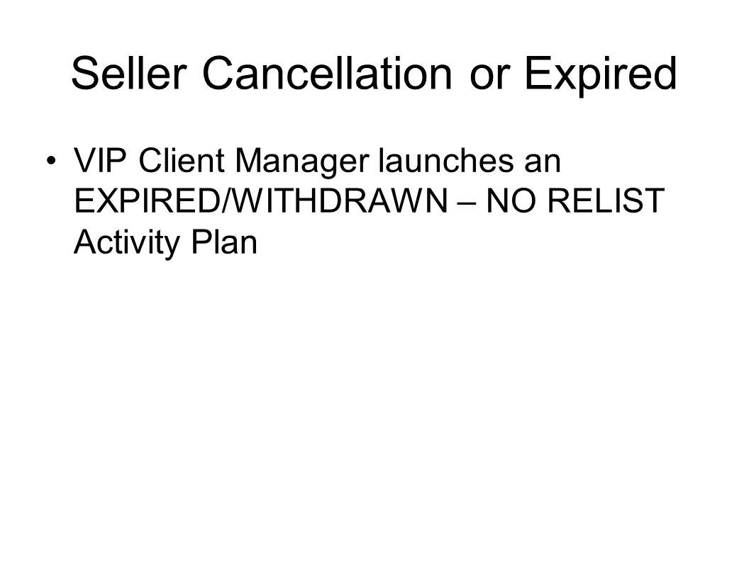Seller Cancellation or Expired VIP Client Manager launches an EXPIRED/WITHDRAWN – NO RELIST Activity Plan