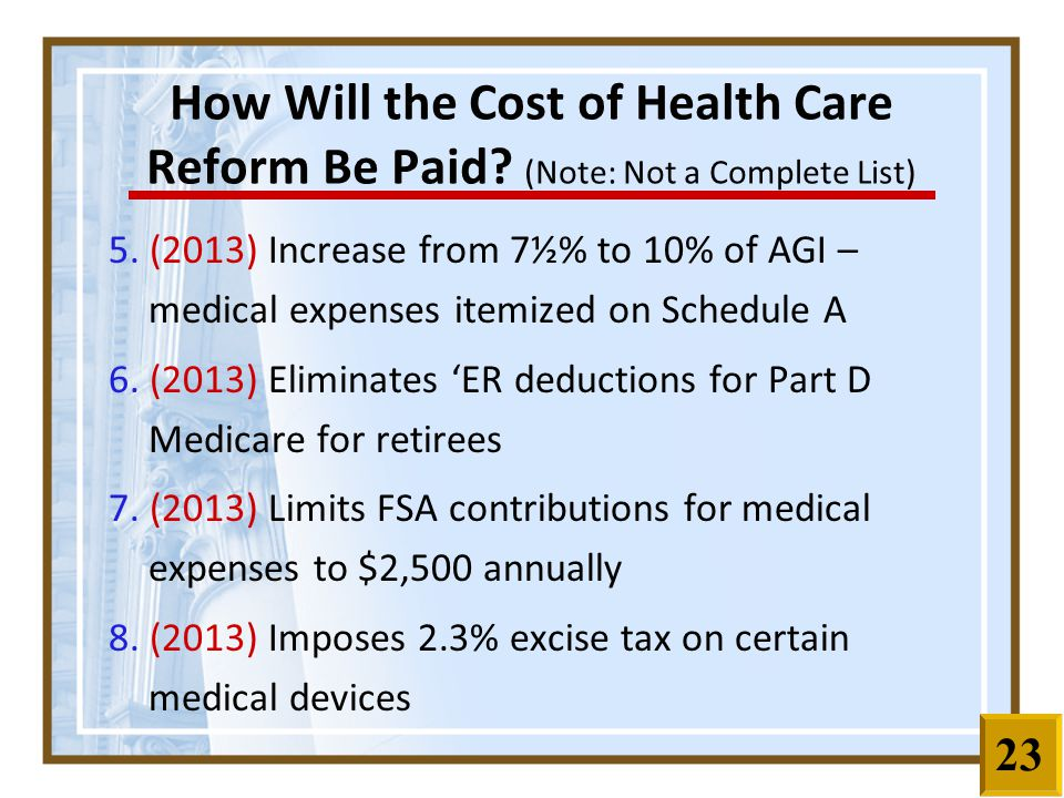 5. (2013) Increase from 7½% to 10% of AGI – medical expenses itemized on Schedule A 6.