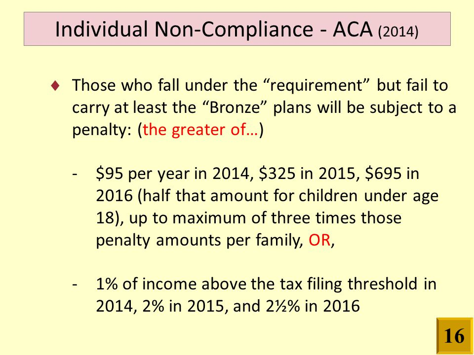  Those who fall under the requirement but fail to carry at least the Bronze plans will be subject to a penalty: (the greater of…) - $95 per year in 2014, $325 in 2015, $695 in 2016 (half that amount for children under age 18), up to maximum of three times those penalty amounts per family, OR, - 1% of income above the tax filing threshold in 2014, 2% in 2015, and 2½% in 2016 Individual Non-Compliance - ACA (2014) 16