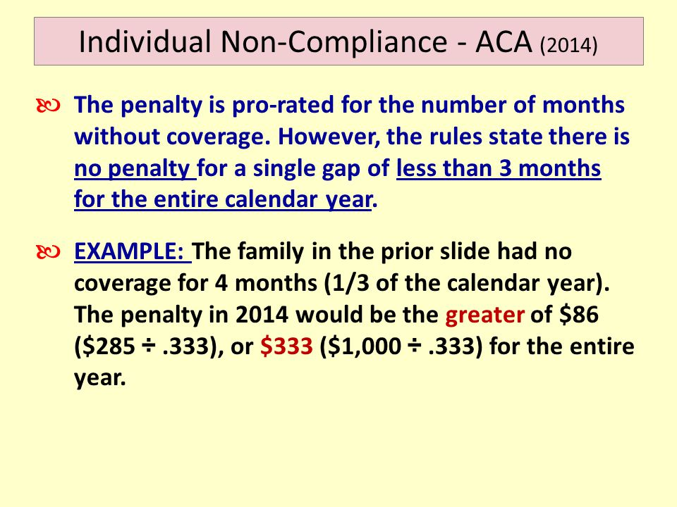 Individual Non-Compliance - ACA (2014) The penalty is pro-rated for the number of months without coverage.