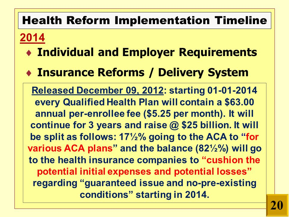 Health Reform Implementation Timeline  Individual and Employer Requirements  Insurance Reforms / Delivery System 2014 Released December 09, 2012: starting 01-01-2014 every Qualified Health Plan will contain a $63.00 annual per-enrollee fee ($5.25 per month).