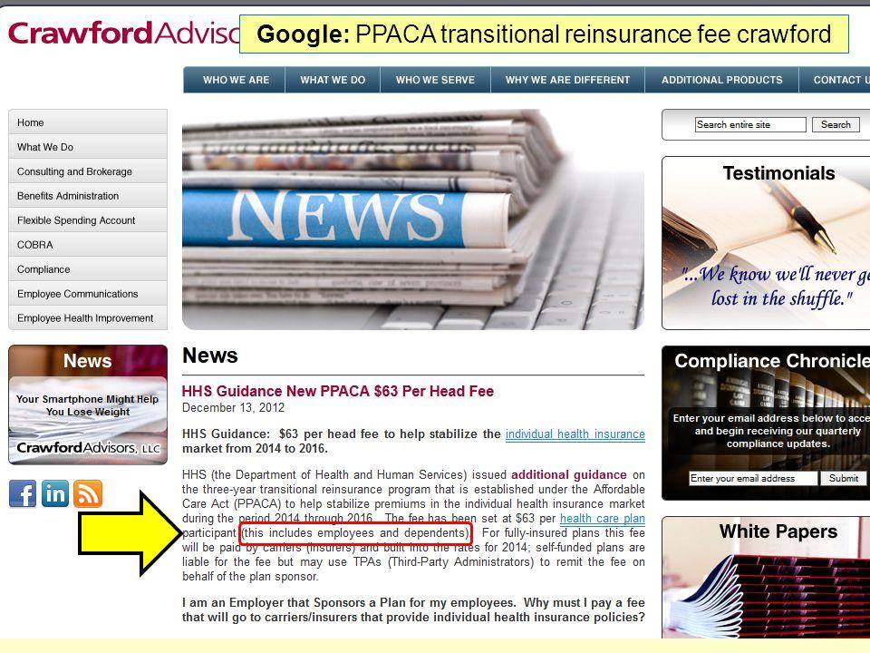 Google: PPACA transitional reinsurance fee crawford